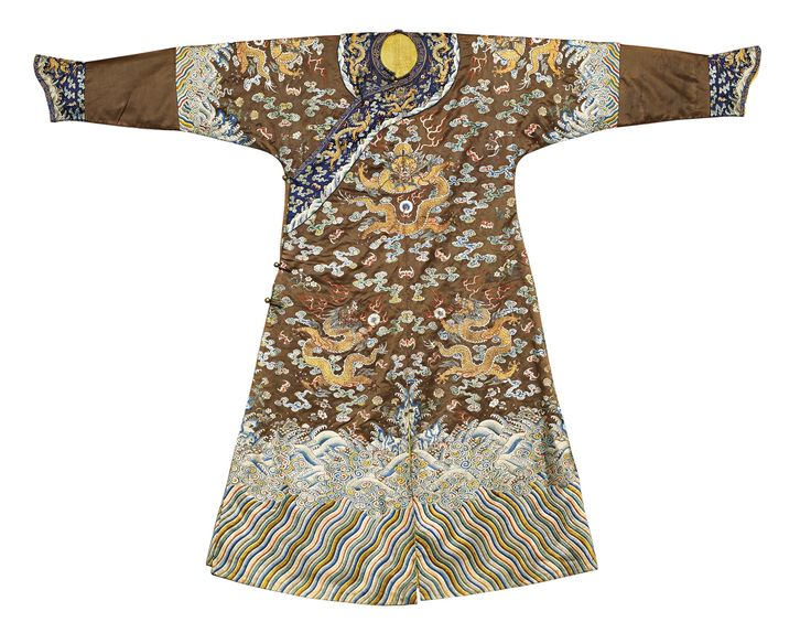 A rare Imperial brown embroidered semi-formal dragon-robe (jifu), Qing dynasty, Qianlong period