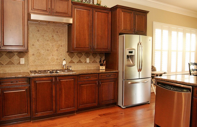 white trim with wood cabinets in kitchen for the home pinterest on kitchen cabinets trim id=38737