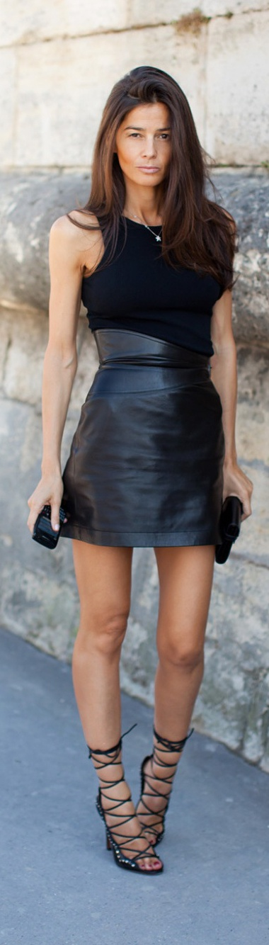 Leather dress is awesome..footwear looks too tight...
