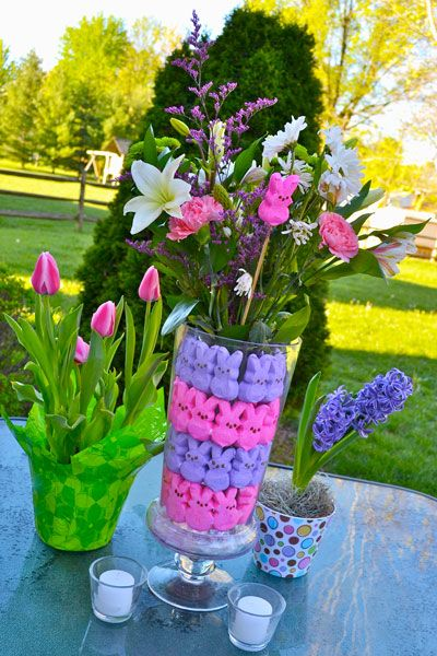 Instructions for making a DIY Easter Centerpiece made from Peeps. A super easy project!