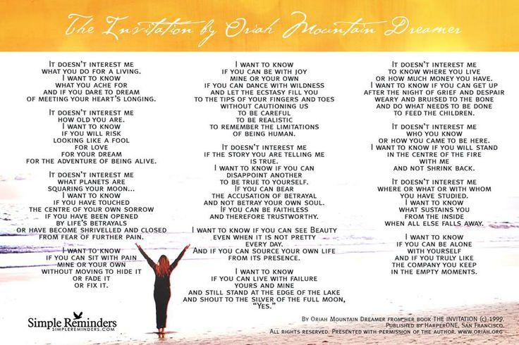 Poetry The Invitation Oriah Mountain Dreamer Invitationjpgcom