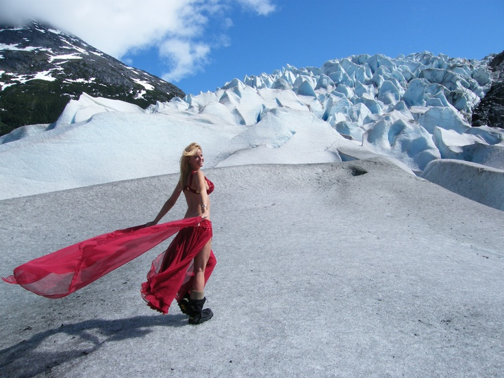 Bellydancing on top of glacier in Alaska