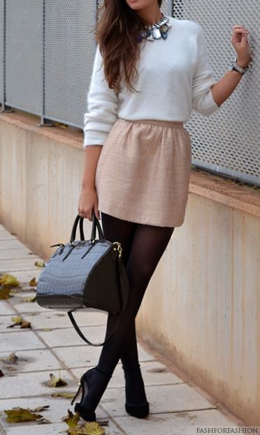 Winter skirt outfit inspiration! I love it! <3
