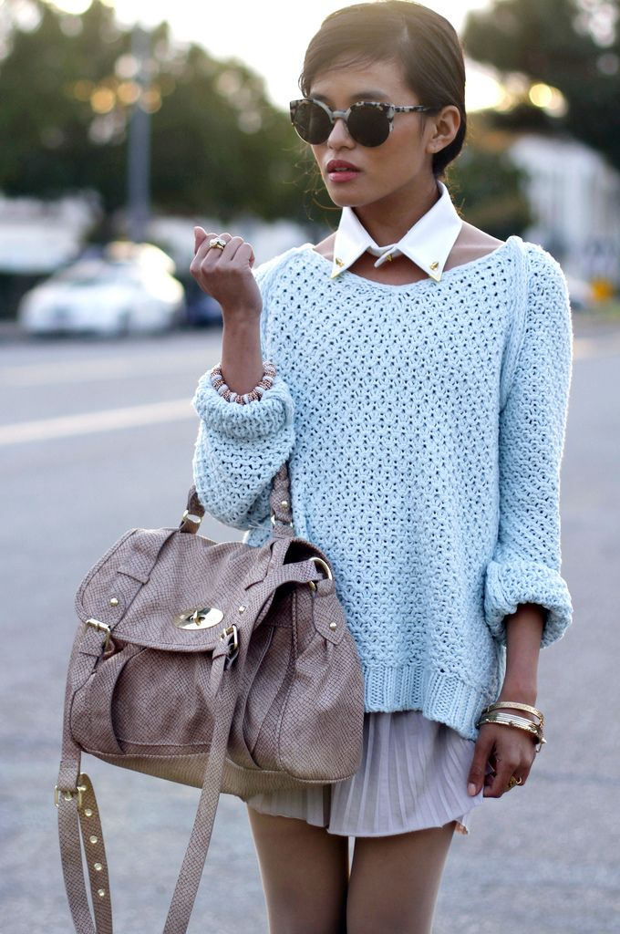 Olivia Lopez and her 'Spring Knits'    Super Sunglasses / Caravan Studded Collar / Zara Pastel Knit Sweater / Club Monaco Skirt / DV Cognac Boots / Hard Couture Rings