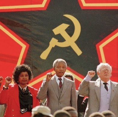 Mandela with his wife Winnie and South African Communist Party President Joe Slovo./communism does Not work. Ask Putin