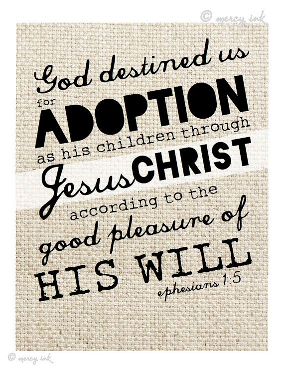 ADOPTION Scripture Print // Ephesians 1:5 Bible Verse // Faith Art · MERCY iNK · Online Store Powered by Storenvy