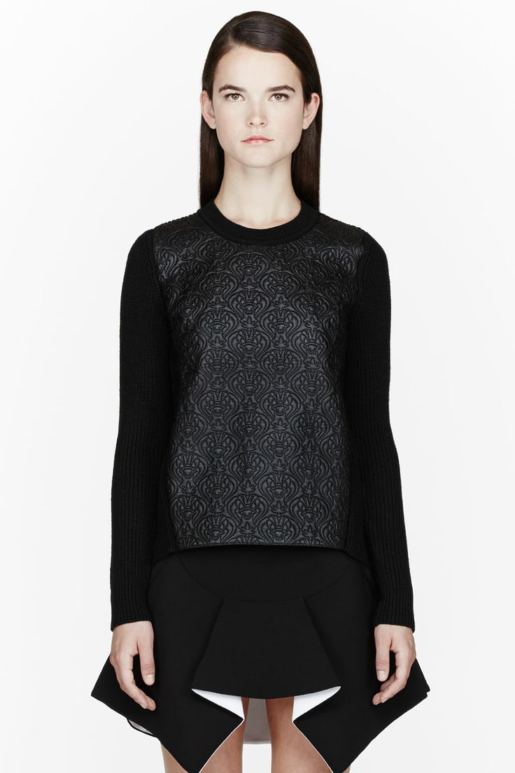 KENZO Black quilted leather sweater + GIVENCHY  black pleated stretch cady skirt
