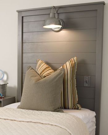 Twin headboard with integrated barn reading light