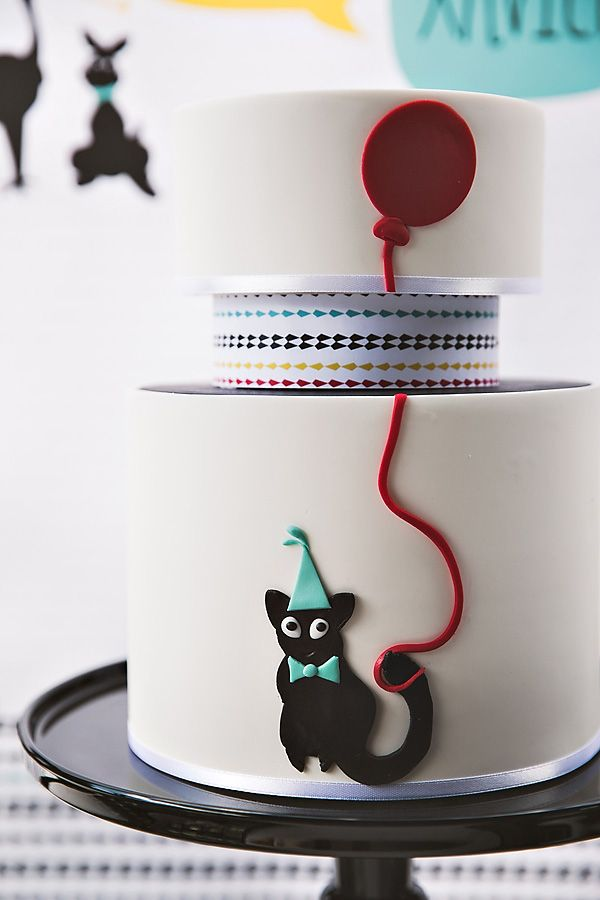 Love this modern style tiered birthday cake