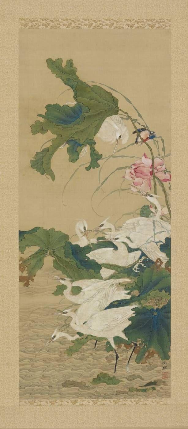 Okamoto Ry?sen dit Sh?ki, Aigrettes et martin pêcheur parmi les lotus, XIXe s., encre et couleurs sur soie, 120 x 49,4 cm (©Collection Mrs Betsy et Dr. Robert Feinberg).