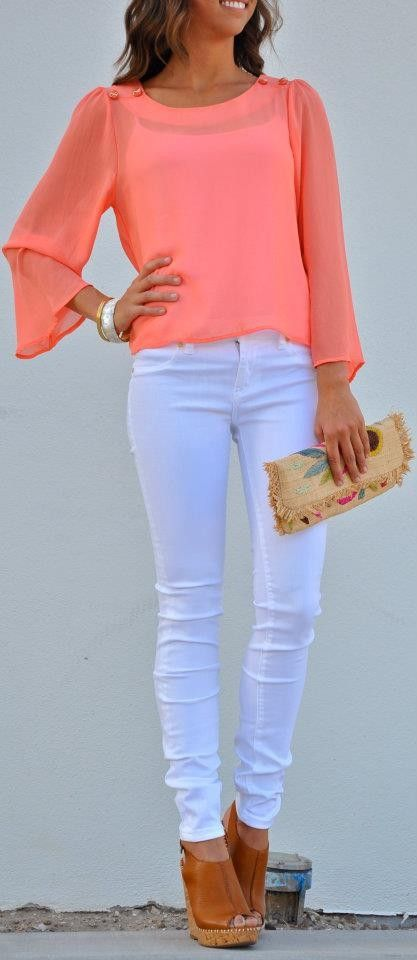 My two loves...coral & white jeans
