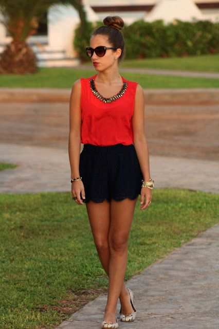 scalloped shorts + red blouse