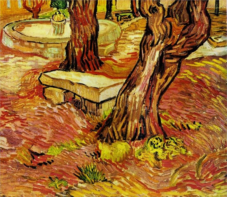 The Stone Bench in the Garden at Saint-Paul Hospital - Vincent van Gogh, 1889