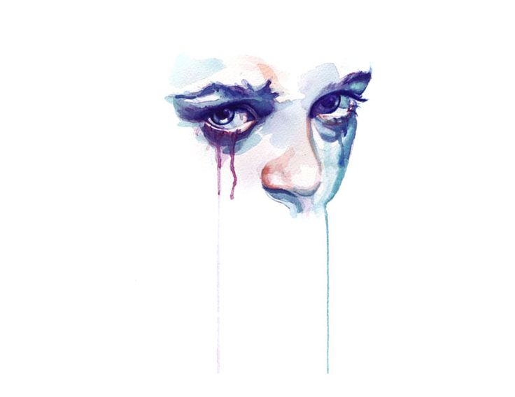 woman girl watercolor portrait sad face painting art tears pity female feminine eyes
