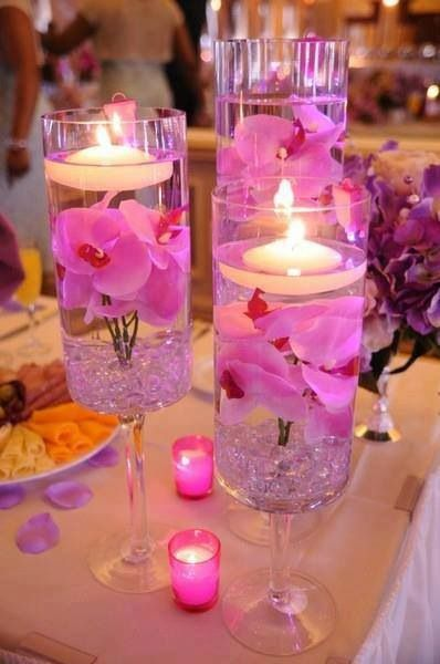 pantone orchid flower center piece