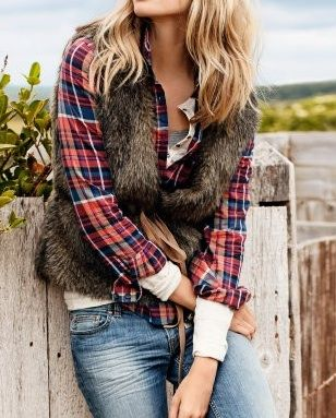 flannel & fur. Liking this look. The fur is out of my comfort zone but I may try it