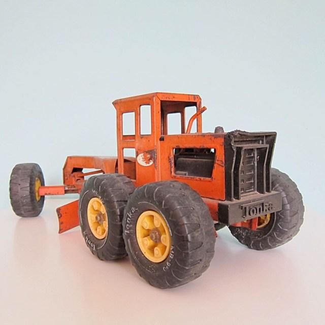 Vintage Tonka Toy Road Grader Tractor- Orange
