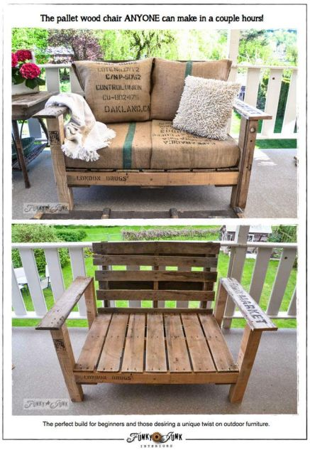 A COOL PALLET WOOD CHAIR anyone can make in a couple hours! Great for non builders! via http://www.funkyjunkinteriors.net/