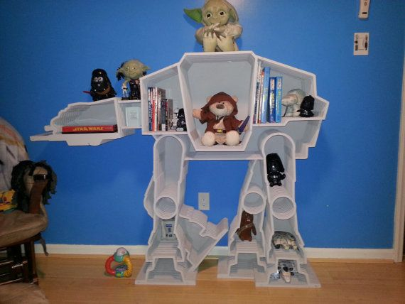 Star Wars ATAT Imperial Bookcase by WhittledInWood on Etsy, $565.00...I may be able to just make this