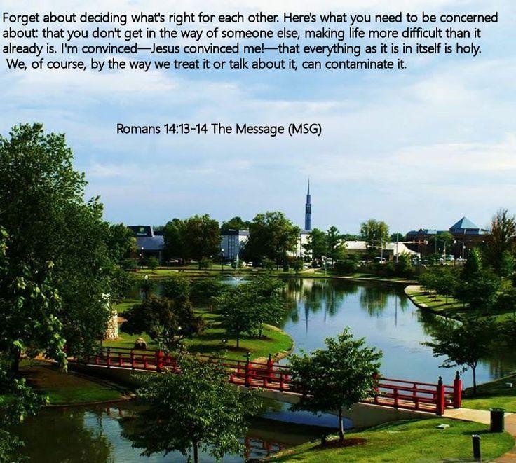Romans 14.13-14 The Message (MSG)