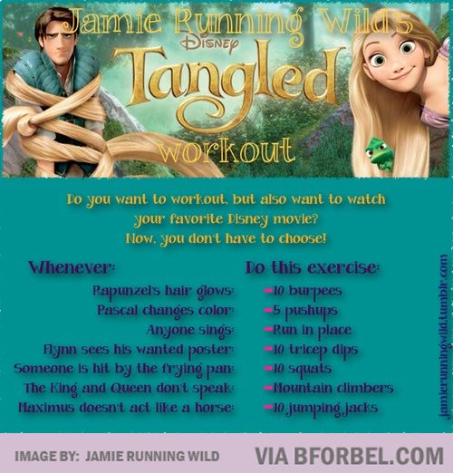 This is hilarious and perfect. Now I can exercise AND watch one of my favorite disney movies at the same time!!