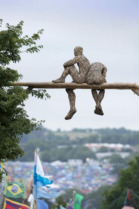 Anna Gillespie: Contemporary Figurative British Sculpture: Current Work. Glastonbury Festival 2013 made of recycled wood chips.