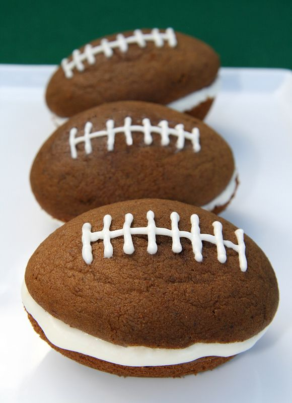 Make football shaped whoopie pies. | 25 Delicious Ways To Make The Super Bowl LessBoring