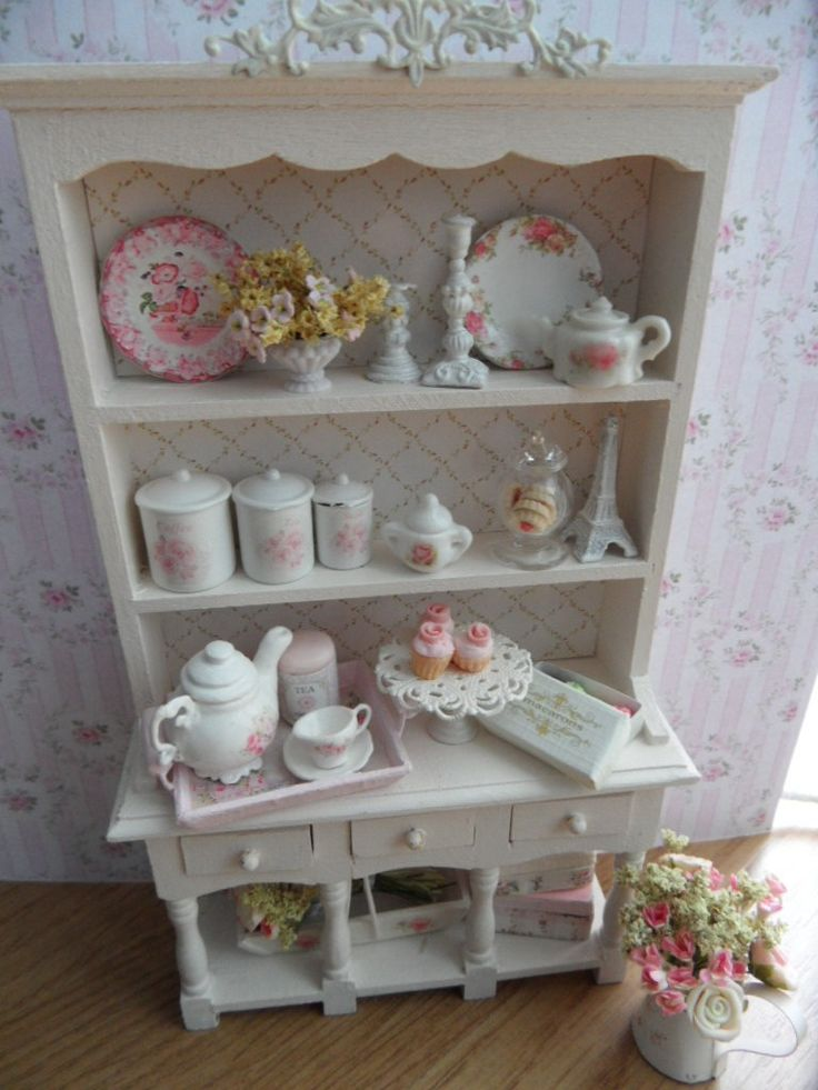 Adorable Dollhouse shabby chic kitchen hutch