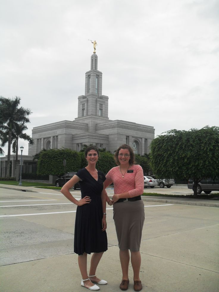 Natalie and Hermana Hall at the Panama Temple.