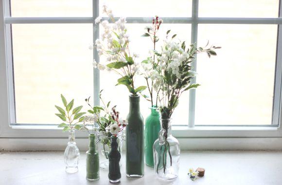 Decor DIY: Painted Glass Bottles