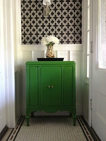 Blogger's own home: she painted the cabinet with Valspar Lime Twist and papered (over old paper) with Sherwin Williams' Ink (name of book). Penny tile is original. See 10-26-11 and 5-18-12 posts. So cute!