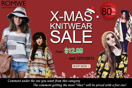 "Xmas knitwear sale! Up to 80% off! Starting from $12.99! Until the end of the month! Comment under the product and try to get as more likes as you can! The comment which gets the most ""likes"" will be prized with a free one as gift! Already started! Don't miss, girls! Go: http://www.romwe.com/Christmas-Knitwear-Sale-c-378.html?ariel23"