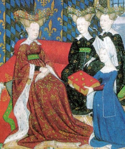 "Christine de Pisan presents her book to Queen Isabeau of France. She and her ladies wear jewelled heart-shaped stuffed or hollow ""bourrelets"" on top of hair dressed in horns. Christine wears a divided hennin covered in white cloth."