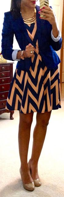 navy blazer over chevron dress