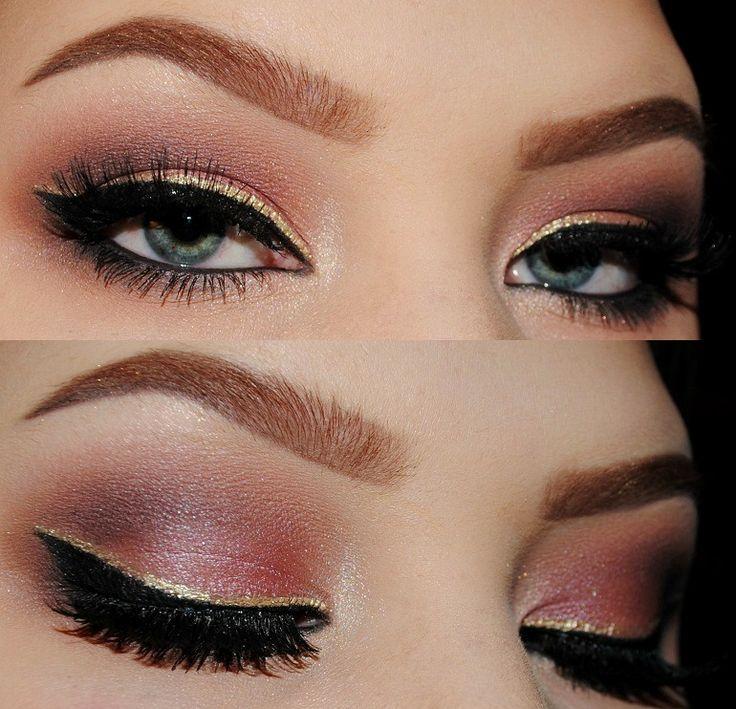 Aprenda a fazer diversas maquiagens para o ano novo como a da foto que mistura tons de rosa com ouro