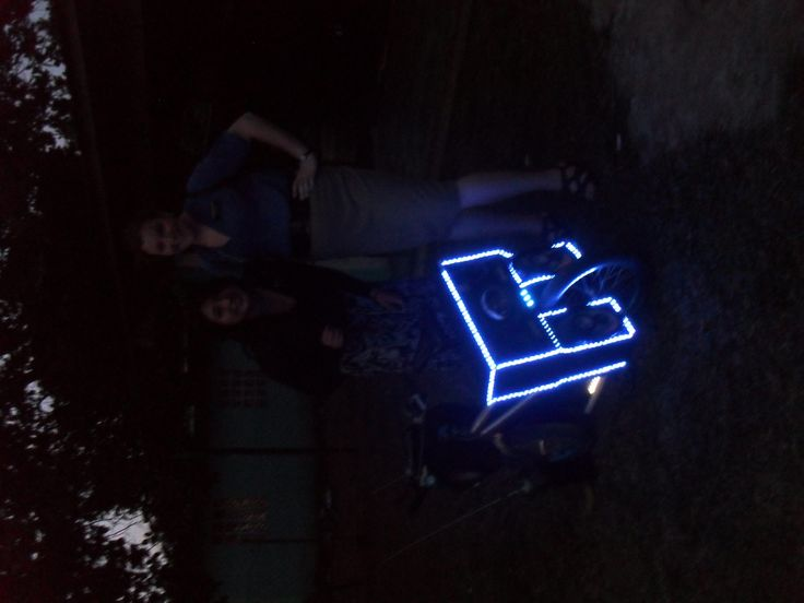 It's a Little hard to see, but this is a light up bike and speaker that the kids here make at home.
