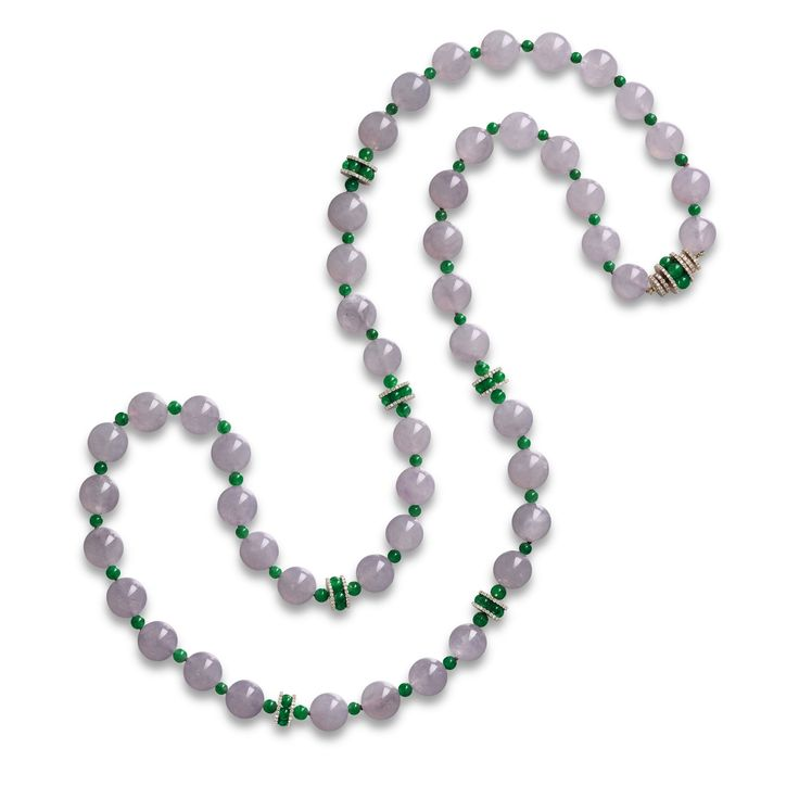 Icy Lavender Jadeite Bead, Jadeite Bead and Diamond Necklace | Lot | Sotheby's