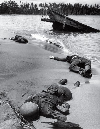 This photo was taken in February 1943, but not published until September, when it became the first image of dead American troops to appear in LIFE during World War II. George Strock's photo was finally OK'd by government censors, in part because FDR feared the public was growing complacent about the war's horrific toll.      Read more: http://life.time.com/history/world-war-ii-classic-photos-from-life-magazine/#ixzz1wylxzhoH
