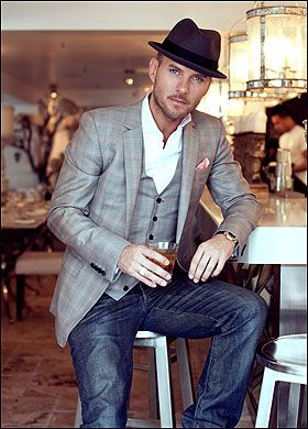 Mens Fashion... Love the sport coat/hat/jean combo. AND he's a hottie. :)