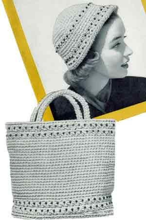 This is a free pattern for a beaded cloche hat.  The pattern for the matching bag is for sale, but I bet you could figure it out after making the hat.