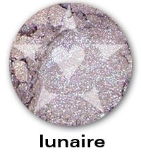 Lunaire is a pale blued grey with sparks of borealis and vivid green, from the BLOOM Mineral Eyeshadow collection. This collection is is inspired by the best-selling, delicate and sparkling shades of Aromaleigh v1... think of them as wonderfully wearable, go-to shades with an added dose of sparkle.     http://www.aromaleigh.com/newbsospmiey.html
