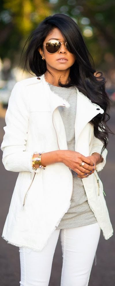 White jeans & jacket!