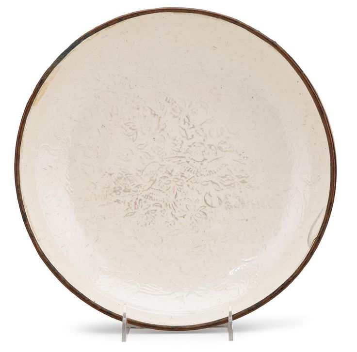 Chinese large and finely moulded Dingyao dish, Song dynasty
