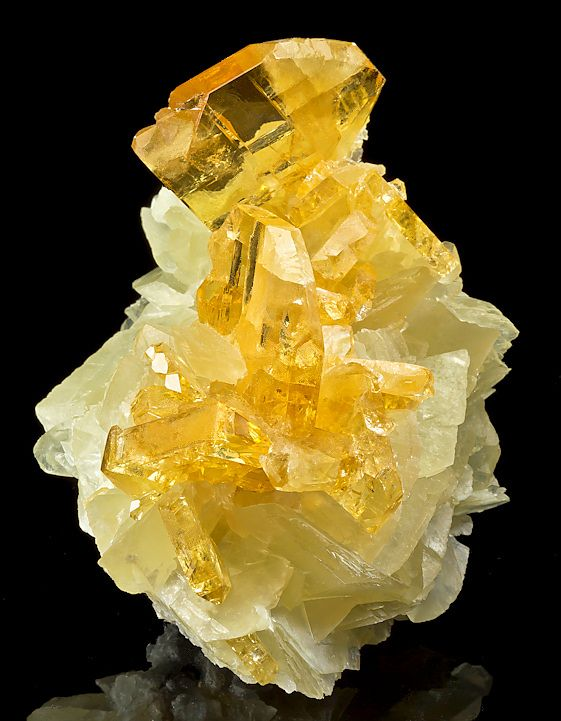 Golden Barite on Calcite; Meikle Mine, Elko County, Nevada