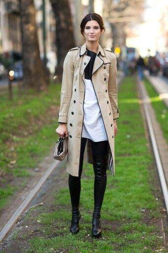 3/4 trench coat with black piping