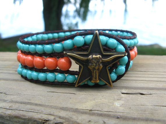 LongHorn Turquoise Coral Cuff $45