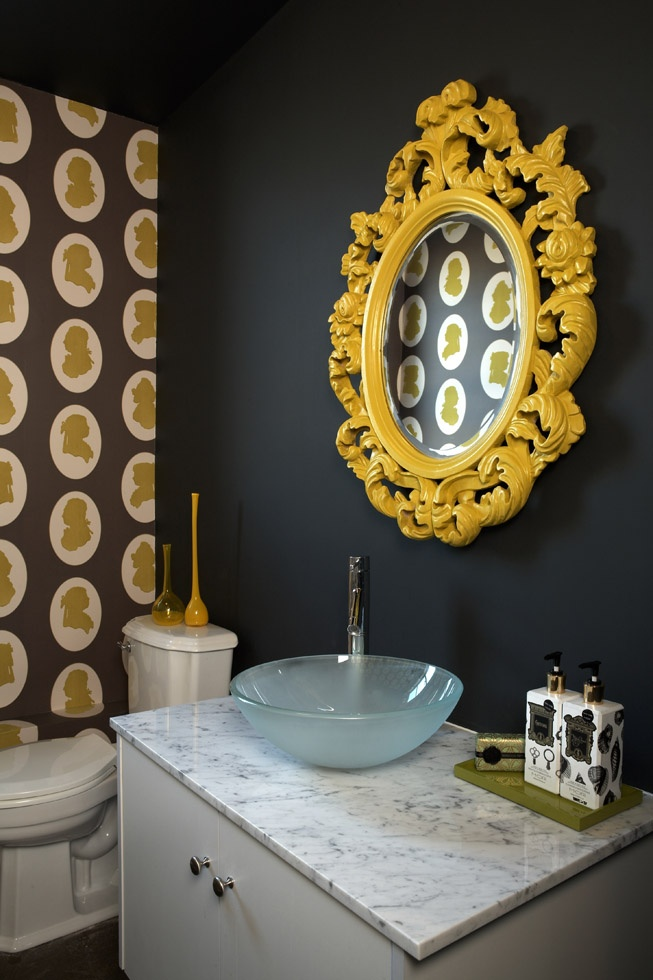osborne and little wallpaper bathroom. look at that mirror!