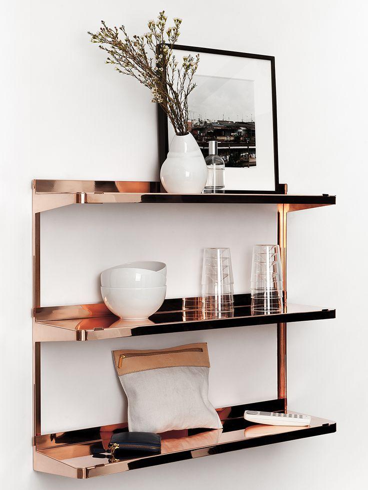 Copper shelving unit