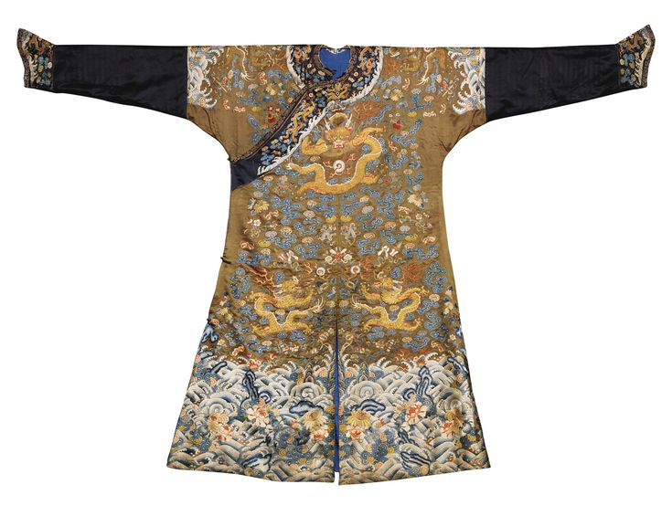 An Imperial brown embroidered semi-formal dragon-robe (jifu), Qing dynasty,, first half 19th century