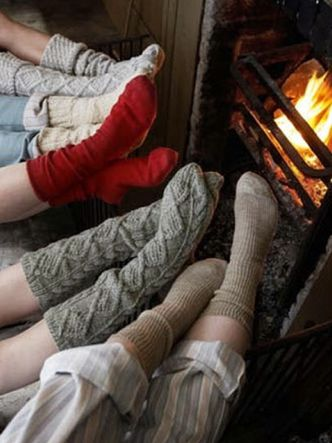 wool socks + fire